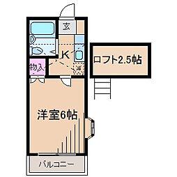 神奈川県川崎市中原区木月1丁目の賃貸アパートの間取り