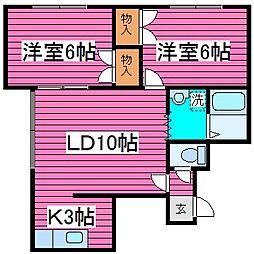 カーメルハウス菊水元町[202号室]の間取り