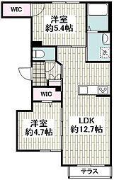 京急本線 大森町駅 徒歩3分の賃貸マンション 1階2LDKの間取り