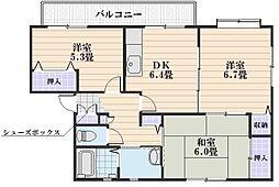 エクセル中島 A[2階]の間取り