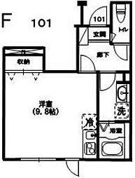 東急目黒線 洗足駅 徒歩3分の賃貸アパート 1階ワンルームの間取り