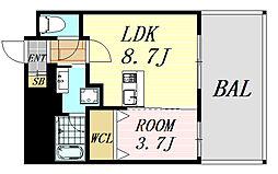 ディームス江坂駅前1 8階1LDKの間取り