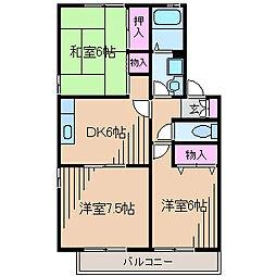 神奈川県横浜市都筑区東山田2丁目の賃貸アパートの間取り