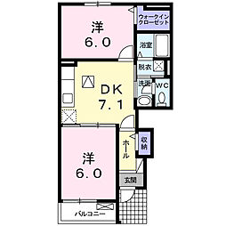 静岡県浜松市南区田尻町の賃貸アパートの間取り