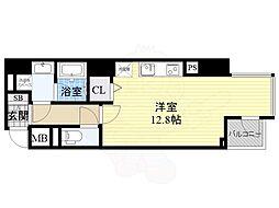 エトワール北新地 2階ワンルームの間取り