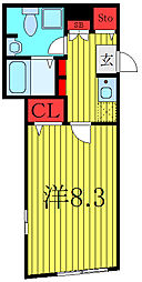 THE RESIDENCE tosima-chihaya 4階1Kの間取り