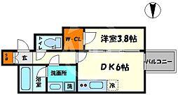 レオンコンフォート本町橋 14階1DKの間取り