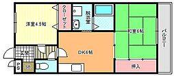 大阪府大阪市東住吉区西今川3丁目の賃貸マンションの間取り