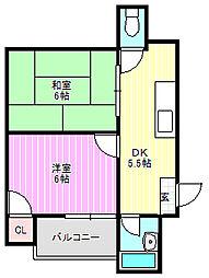 下木田マンション[1階]の間取り