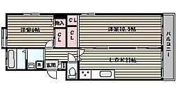 阪急神戸本線 六甲駅 バス10分 鶴甲2丁目下車 徒歩1分の賃貸マンション 3階2LDKの間取り