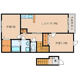 奈良県桜井市安倍木材団地2丁目の賃貸アパートの間取り