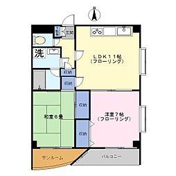 第二石川台ビル[301号室]の間取り