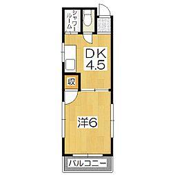 ベルエール桃山A[4階]の間取り
