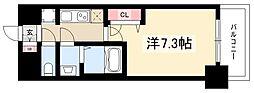 プレサンス栄フェル 14階1Kの間取り
