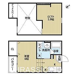 大阪府堺市堺区柏木町3丁の賃貸アパートの間取り