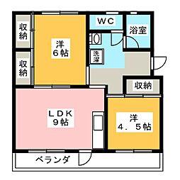 松栄荘A,B[3階]の間取り