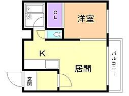 サニーパレス永山 2階1DKの間取り