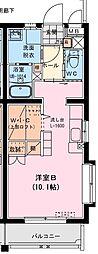 (仮称)船塚1丁目マンション 1階ワンルームの間取り