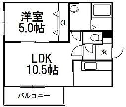 北海道札幌市西区西町北18丁目の賃貸マンションの間取り