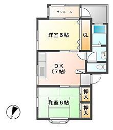 セブンハイツ[1階]の間取り