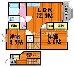 岡山県総社市真壁丁目なしの賃貸アパートの間取り