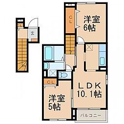 南海線 和歌山市駅 バス10分 築地橋下車 徒歩5分の賃貸アパート 2階2LDKの間取り