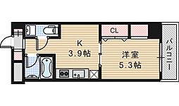 クレイドル西田辺[702号室]の間取り
