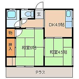 丸源荘[202号室]の間取り