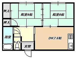 福岡県北九州市小倉北区三郎丸3丁目の賃貸アパートの間取り