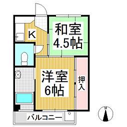 ビレッジハウス坂城 2号棟 4階2Kの間取り