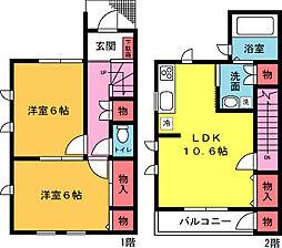 [テラスハウス] 神奈川県茅ヶ崎市東海岸北2丁目 の賃貸【神奈川県 / 茅ヶ崎市】の間取り