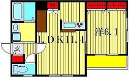 ニューハイツ鎌倉II[2階]の間取り