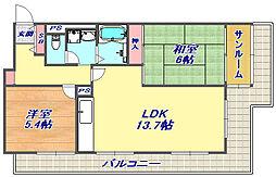 ジークレフ赤坂[407号室]の間取り