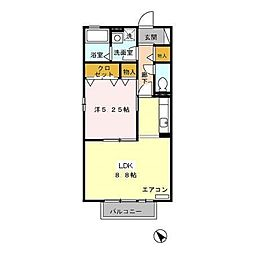 愛知県名古屋市緑区大根山1丁目の賃貸アパートの間取り