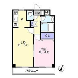 神奈川県横浜市港南区港南台2丁目の賃貸マンションの間取り