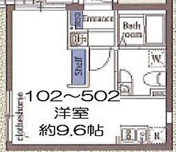 東京メトロ東西線 木場駅 徒歩8分の賃貸マンション 4階ワンルームの間取り