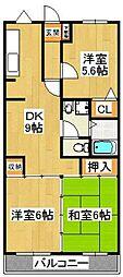 クレスト飯塚[303号室]の間取り