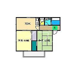 ヒロハイツIII[2階]の間取り