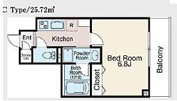 JR総武本線 馬喰町駅 徒歩5分の賃貸マンション 6階1Kの間取り