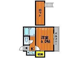 岡山県岡山市北区神田町2丁目の賃貸アパートの間取り