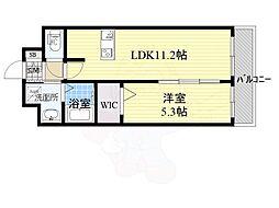 プレデコート西京極 3階1LDKの間取り