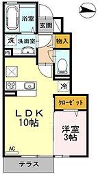 西武池袋線 東久留米駅 徒歩8分の賃貸アパート 1階1LDKの間取り