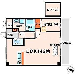 Osaka Metro谷町線 太子橋今市駅 徒歩8分の賃貸マンション 2階1LDKの間取り