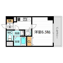 JR大阪環状線 京橋駅 徒歩6分の賃貸マンション 2階1Kの間取り