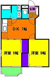 静岡県磐田市西島の賃貸アパートの間取り