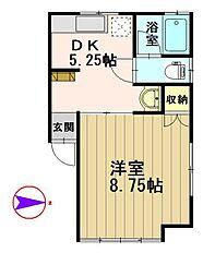 メイプルハウス[105号室]の間取り