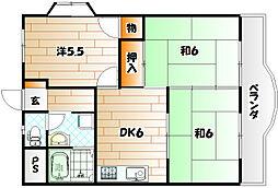 福岡県北九州市若松区浜町2丁目の賃貸マンションの間取り
