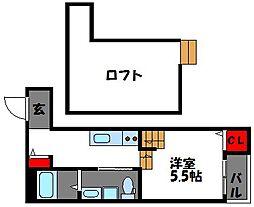 福岡県福岡市東区唐原4丁目の賃貸アパートの間取り