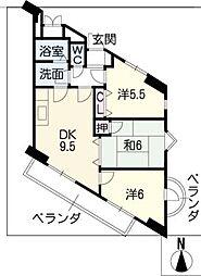 パレスHAKUHO[6階]の間取り