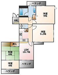 (分譲)白鷹甲子園マンション[4階]の間取り
